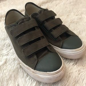 Army green strap Vans sneakers with leather toe